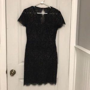 BR Black/gold metallic lace sheath dress